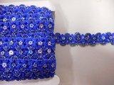 Pailetteband met bloemetjes kobalt blauw per meter_