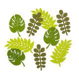 Vilt Blaadjes, Lime Groen/Groen, 18 stuks per verpakking_