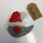 Vilt Christmas Vogel Licht Grijs/Rood, per stuk
