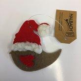 Vilt Kerst Vogel Grijs Bruin/Red, per stuk