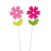 Vilt bloemetjes roze en fuchsia op steker 2 stuks per setje