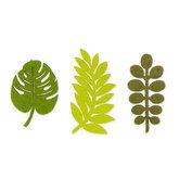 Vilt blaadjes groen tinten 3 stuks per zakje