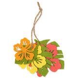 Vilt set bloem & blaadjes, Oranje, Geel, Groen, Koraal Roze