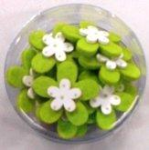 Bloemetjes vilt met hout fel groen 10 stuks per zakje