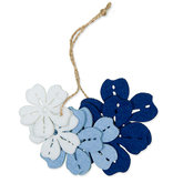 Vilt Bloemen, Wit/Licht Blauw/Donker Blauw 6 stuks