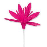 Vilt bloem op steker fucshia per stuk