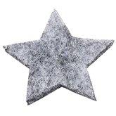 Vilten sterretjes dicht grijs gemeleerd 3 cm doorsnee 12 stuks per doosje