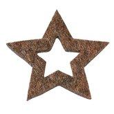 Vilten sterretjes bruin gemeleerd 3 cm doorsnee 12 stuks per doosje