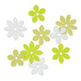Vilt Bloemetjes, Wit/Groen/Zacht Groen, 36 stuks per verpakking