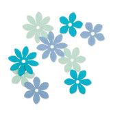 Vilt Bloemetjes,Mint/Blauw/Petrol, 36 stuks per verpakking