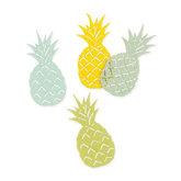 Vilt ananassen geel groen tinten 4 stuks per zakje