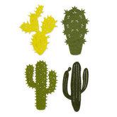 Vilt cactussen groene tinten 4 stuks per zakje