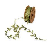 Satijn blaadjes olijfgroen lint ca. 1 meter per zakje