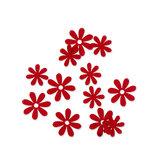 Vilt bloemetjes mini rood 10 stuks per zakje