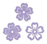 Vilt bloemen lila 6 cm doorsnee 6 stuks per zakje
