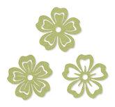 Vilt bloemen groen 6 cm doorsnee 6 stuks per zakje