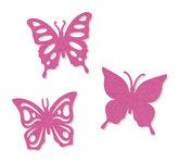 Vilt vlinders roze 6 stuks per zakje