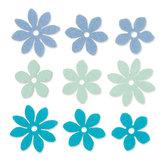 Vilt Bloemetjes,Mint/Blauw/Petrol, 9 stuks per verpakking