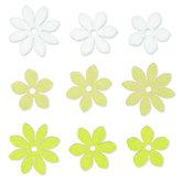Vilt Bloemetjes, Wit/Groen/Zacht Groen, 9 stuks per zakje