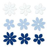 Vilt Bloemetjes, Wit/Licht Blauw/Donker Blauw, 9 stuks per zakje