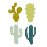 Vilt cactussen zacht groene tinten 4 stuks per zakje
