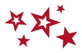 Vilt sterren rood 10 stuks per zakje