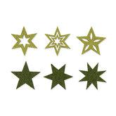 Vilt sterren groen 6 stuks per zakje