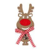 Rudolf, Licht Bruin, met bel, 2 stuks per zakje