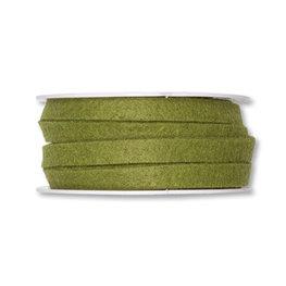 Vilt band 1 cm breed, Olijf Groen, 5 meter op rol
