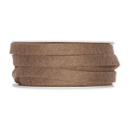 Vilt band 1 cm breed, Mud Brown, 5 meter op rol