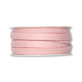 Vilt band 1 cm breed, Pastel Roze, 5 meter op rol