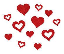 Vilt stickers hartjes rood