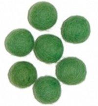 Vilt balletjes 15 mm, Groen, 10 st.