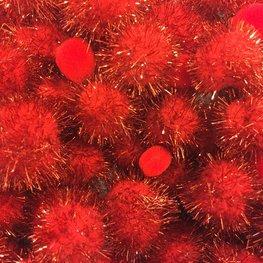 Pom poms rood A4 zak assorti