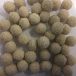 Mini pom poms 14 mm doorsnee beige zakje