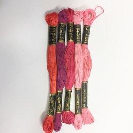 Borduurgaren setje roze kleuren