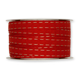 Stiksel band rood 12  mm breed per meter