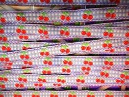 Lint lila kersjes 10 mm breed per meter
