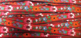 Geweven band bloemen rood per meter
