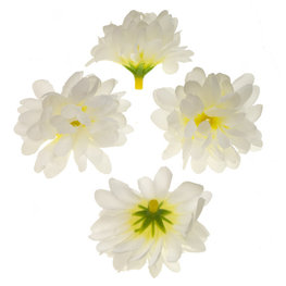 Stoffen kunst chrysant wit 5 cm doorsnee per stuk