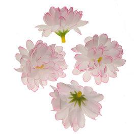 Stoffen kunst chrysant roze wit 5 cm doorsnee per stuk