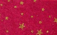 Vilt Print Kerst, Glitter sterren, Bordeaux/Goud, 30 x 40 cm