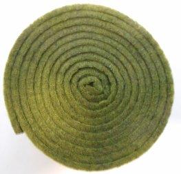 Vilt band op rol 4 cm breed 1,5 meter lang groen gemeleerd