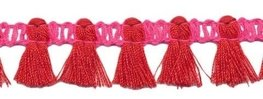 Kwastjesband roze rood 15 mm breed per meter