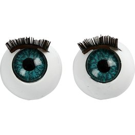 Grote ogen met wimpers groot 17 mm 10 stuks per zakje
