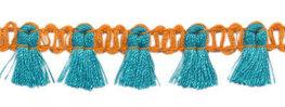 Kwastjesband oranje aqua 15 mm breed per meter