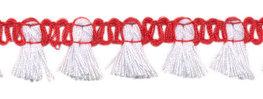 Kwastjesband wit rood 15 mm breed per meter
