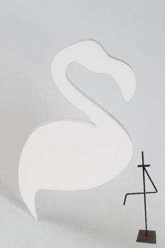 Flamingo, incl. metalen statief