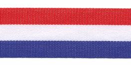 Rood wit blauw Nederlandse vlag lint 25 mm breed per meter