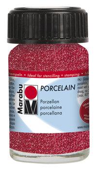 Marabu porseleinverf rood glitter 15 ml